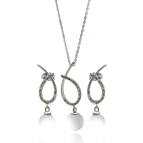 Wholesale Sterling Silver 925 Rhodium Plated Clear Open Overlap Oval Teardrop Pearl CZ Hanging  Set - BGS00252