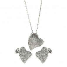 Wholesale Sterling Silver 925 Rhodium Plated Micro Pave Clear Curl Heart CZ Stud Earring and Necklace Set - BGS00254