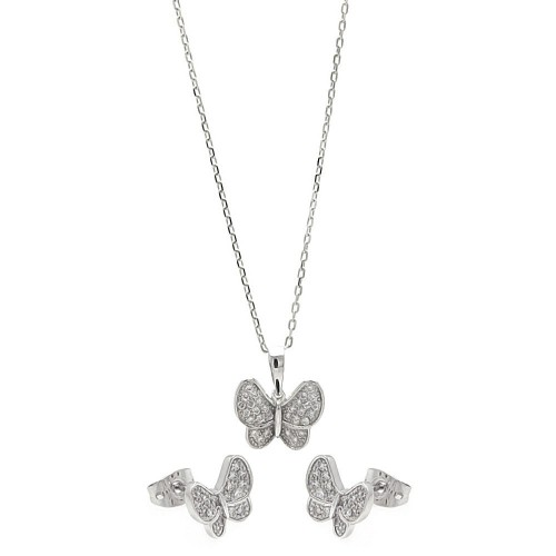 Wholesale Sterling Silver 925 Rhodium Plated Clear Butterfly CZ Set - BGS00255