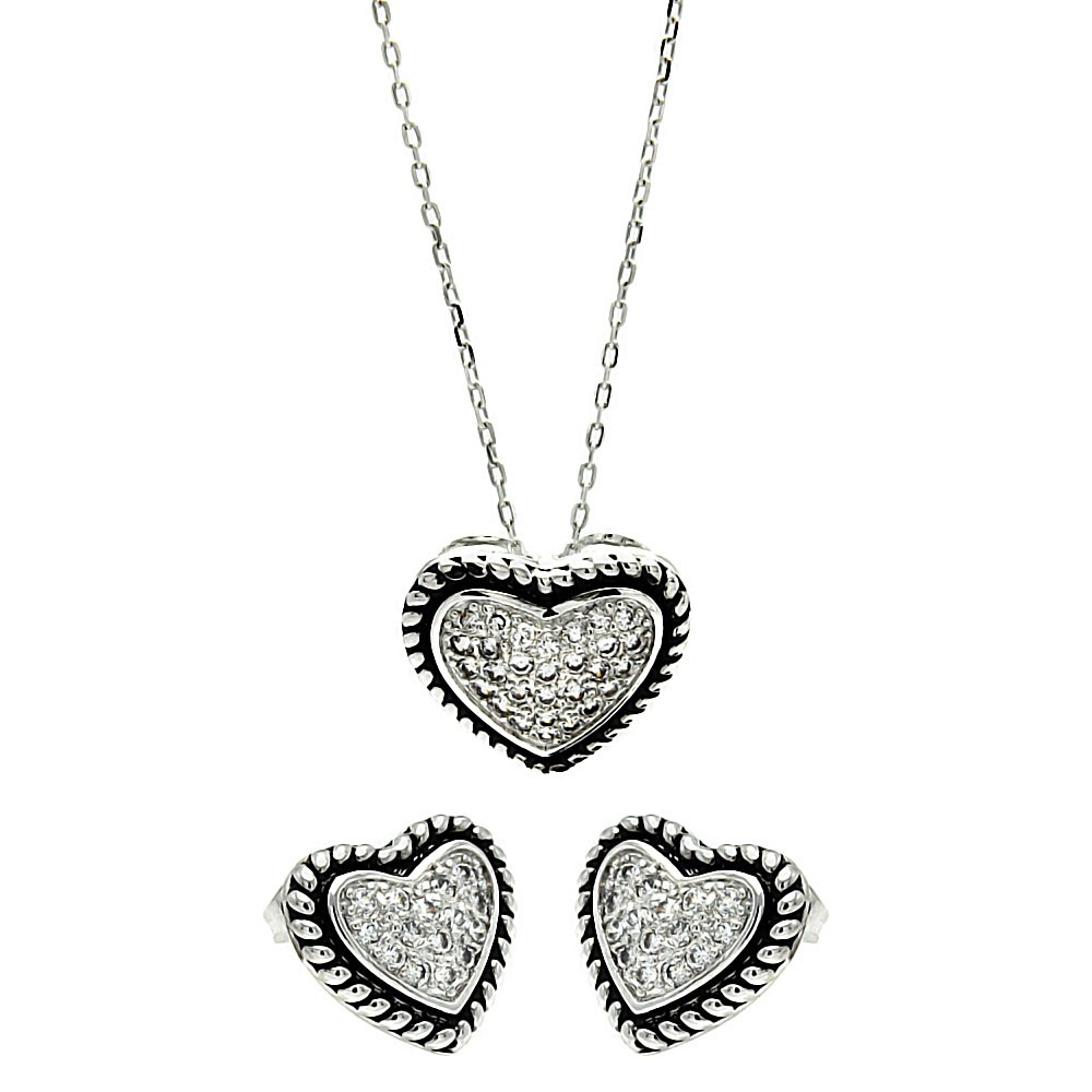 Wholesale Sterling Silver 925 Rhodium and Black Rhodium Plated Bead Border Clear Heart CZ Stud Earring and Necklace Set - BGS00256