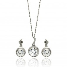 Sterling Silver Rhodium Plated Clear Round CZ Hanging Stud Earring & Hanging Necklace Set bgs00258