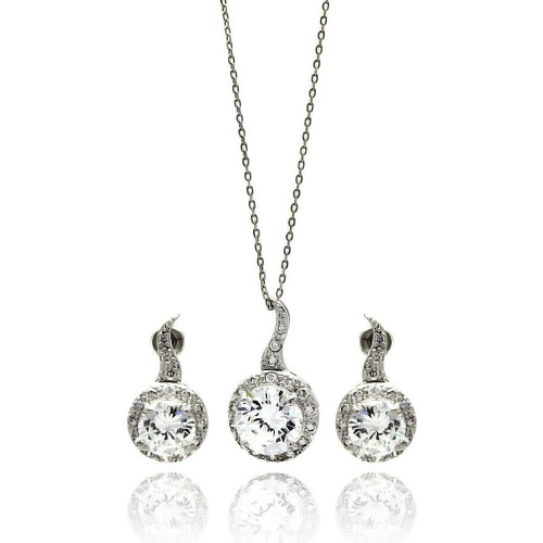 Wholesale Sterling Silver 925 Rhodium Plated Clear Round CZ Hanging Stud Earring and Hanging Necklace Set - BGS00258