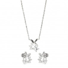 Sterling Silver Rhodium Plated Individual Clear Twist Wrap CZ Stud Earring & Necklace Set bgs00259
