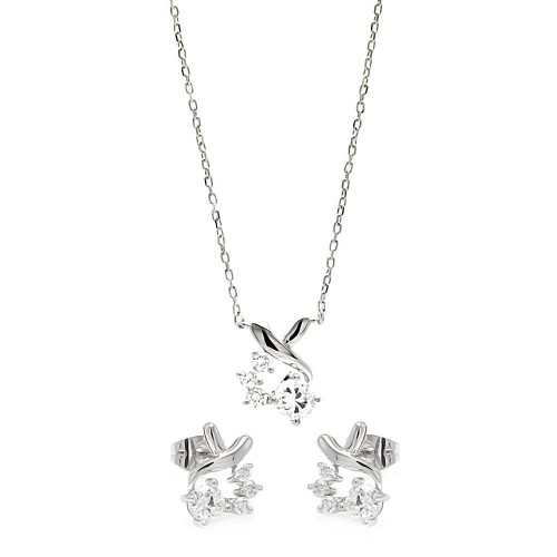 Wholesale Sterling Silver 925 Rhodium Plated Individual Clear Twist Wrap CZ Stud Earring and Necklace Set - BGS00259
