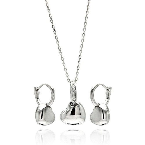 Wholesale Sterling Silver 925 Rhodium Plated High Polish Heart Clear CZ Leverback Earring and Necklace Set - BGS00263