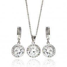 Sterling Silver Rhodium Plated Clear Round Cluster CZ Hanging Hook Earring & Necklace Set bgs00264