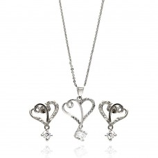 Wholesale Sterling Silver 925 Rhodium Plated Clear Double Open Heart CZ Hanging Stud Earring and Hanging Necklace Set - BGS00266