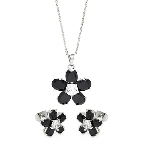 Wholesale Sterling Silver 925 Rhodium Plated Black and Clear Flower CZ Set - BGS00267