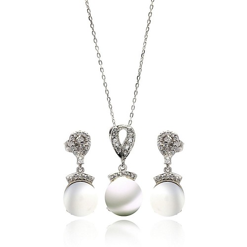 Wholesale Sterling Silver 925 Rhodium Plated Fresh Water Pearl Drop Clear CZ Hanging Set - BGS00269