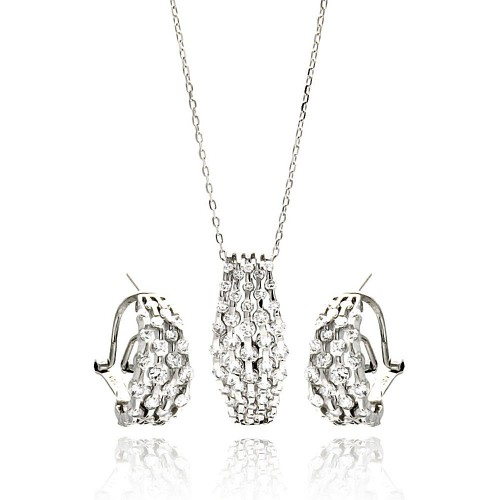 Wholesale Sterling Silver 925 Rhodium Plated Multi Row Clear CZ French Clip Earring and Necklace Set - BGS00270