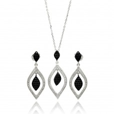 Wholesale Sterling Silver 925 Rhodium Plated Black and Clear Open Marquise Teardrop CZ Set - BGS00271