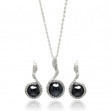 Wholesale Sterling Silver 925 Rhodium Plated Black Pearl Clear CZ Hanging Stud Earring and Necklace Set - BGS00272
