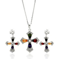 Wholesale Sterling Silver 925 Rhodium Plated Multi Colored Cross CZ Hanging Stud Earring and Necklace Set - BGS00274