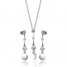 Wholesale Sterling Silver 925 Rhodium Plated Pearl Drop Clear CZ Dangling Stud Earring and Dangling Necklace Set - BGS00275
