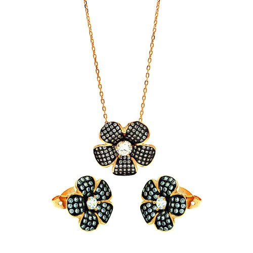 -Closeout- Wholesale Sterling Silver 925 Black Rhodium and Gold Plated Clear Flower CZ Stud Earring and Necklace Set - BGS00276