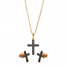 Sterling Silver Black Rhodium & Gold Plated Cross Clear CZ Stud Earring & Necklace Set bgs00277