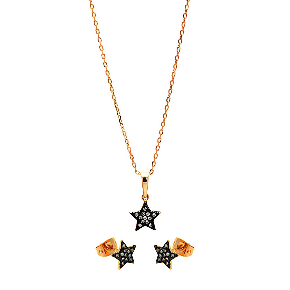 Wholesale Sterling Silver 925 Black Rhodium and Gold Plated Clear Mini Star CZ Stud Earring and Necklace Set - BGS00278