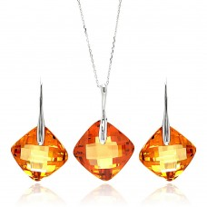 Wholesale Sterling Silver 925 Rhodium Plated Champagne Diamond Shaped Square CZ Hook Earring and Necklace Set - BGS00281