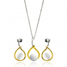 Wholesale Sterling Silver 925 Rhodium and Gold Plated Overlap Open Teardrop Pearl Clear CZ Hanging Stud Earring and Necklace Set - BGS00292