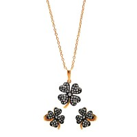 Wholesale Sterling Silver 925 Black Rhodium and Gold Plated Clear Mini Clover CZ Set - BGS00301