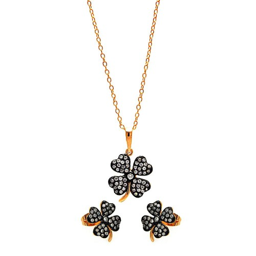 Sterling Silver Black Rhodium And Gold Plated Clear Mini Clover CZ Set - BGS00301
