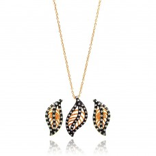 **Closeout** Sterling Silver Black Rhodium & Gold Plated Leaf Clear CZ Stud Earring & Necklace Set bgs00303