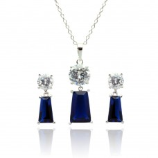 Sterling Silver Rhodium Plated Clear Round Blue Rectangular CZ Dangling Stud Earring & Dangling Necklace Set bgs00346