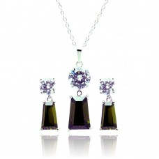 Sterling Silver Rhodium Plated Clear Round Green Rectangular CZ Dangling Stud Earring & Dangling Necklace Set bgs00360