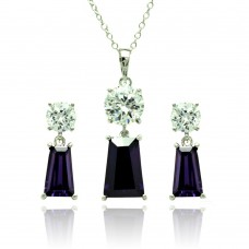 Sterling Silver Rhodium Plated Clear Round Purple Rectangular CZ Dangling Stud Earring & Dangling Necklace Set bgs00361