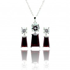 Sterling Silver Rhodium Plated Clear Round Red Rectangular CZ Dangling Stud Earring & Dangling Necklace Set bgs00362