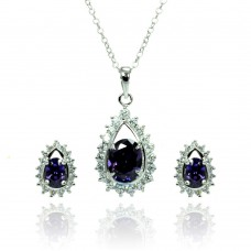 Sterling Silver Rhodium Plated Clear & Purple Teardrop Cluster CZ Stud Earring & Necklace Set bgs00364