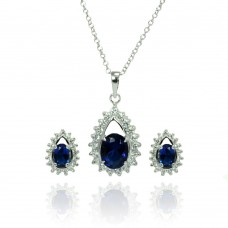 Sterling Silver Rhodium Plated Clear & Blue Teardrop Cluster CZ Stud Earring & Necklace Set bgs00365