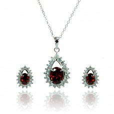 Sterling Silver Rhodium Plated Clear & Red Teardrop Cluster CZ Stud Earring & Necklace Set bgs00367