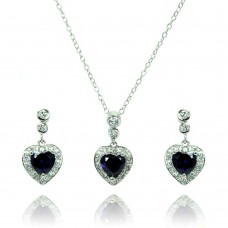 Sterling Silver Rhodium Plated Clear & Purple Heart CZ Dangling Stud Earring & Necklace Set bgs00369