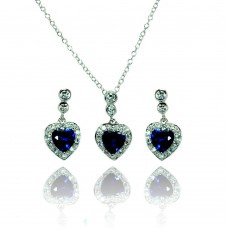 Sterling Silver Rhodium Plated Clear & Blue Heart CZ Dangling Stud Earring & Necklace Set bgs00370
