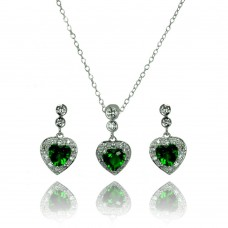 Sterling Silver Rhodium Plated Clear & Green Heart CZ Dangling Stud Earring & Necklace Set bgs00371