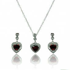 Sterling Silver Rhodium Plated Clear & Red Heart CZ Dangling Stud Earring & Necklace Set bgs00372