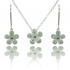 Wholesale Sterling Silver 925 Rhodium Plated Clear Pave Set Flower CZ Hook Earring and Necklace Set - BGS00373
