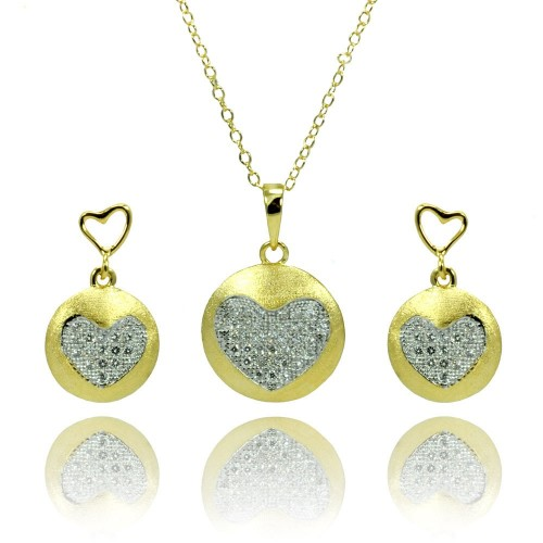 Wholesale Sterling Silver 925 Gold Plated Clear Heart Circle Disc CZ Stud Earring and Necklace Set - BGS00374
