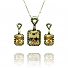 Sterling Silver Black Rhodium Plated Yellow Round & Rectangular CZ Dangling Stud Earring & Necklace Set bgs00375