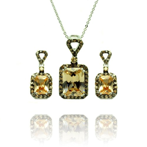 Wholesale Sterling Silver 925 Black Rhodium Plated Yellow Round and Rectangular CZ Dangling Stud Earring and Necklace Set - BGS00375
