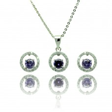 Sterling Silver Rhodium Plated Clear & Purple Round Open Circle CZ Stud Earring & Dangling Necklace Set bgs00378