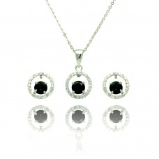 Sterling Silver Rhodium Plated Clear & Green Round Open Circle CZ Stud Earring & Dangling Necklace Set bgs00380