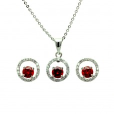 Sterling Silver Rhodium Plated Clear & Red Round Open Circle CZ Stud Earring & Dangling Necklace Set bgs00381