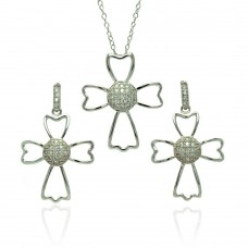 Sterling Silver Rhodium Plated Micro Pave Clear Cross Outline CZ Danlgling Stud Earring & Necklace Set bgs00384