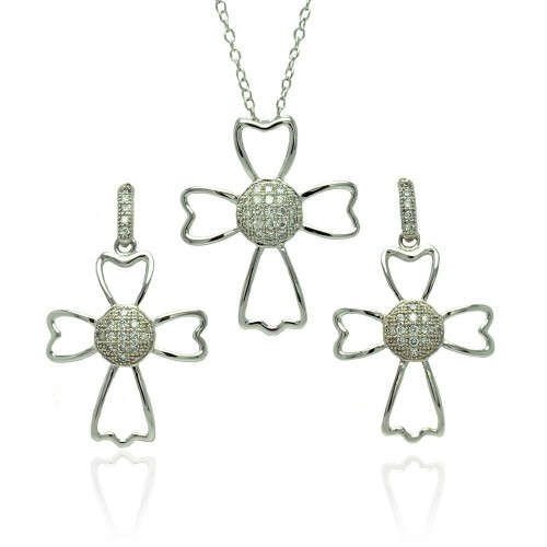 Wholesale Sterling Silver 925 Rhodium Plated Micro Pave Clear Cross Outline CZ Dangling Stud Earring and Necklace Set - BGS00384