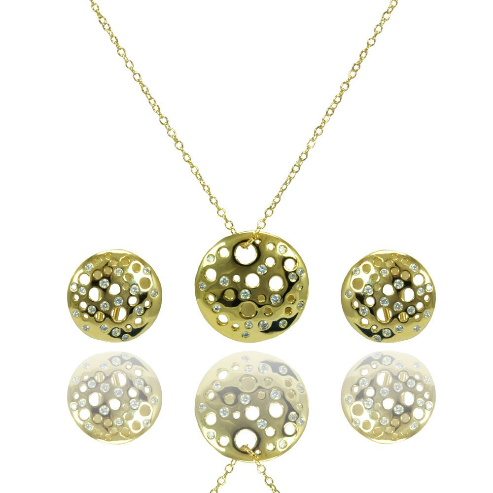 Wholesale Sterling Silver 925 Gold Plated Clear Round Disc CZ Stud Earring and Necklace Set - BGS00385