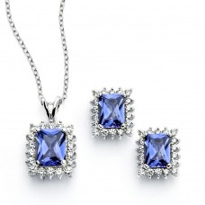 Wholesale Sterling Silver 925 Rhodium Plated Clear Cluster Blue Rectangle CZ Stud Earring and Necklace Set - BGS00389
