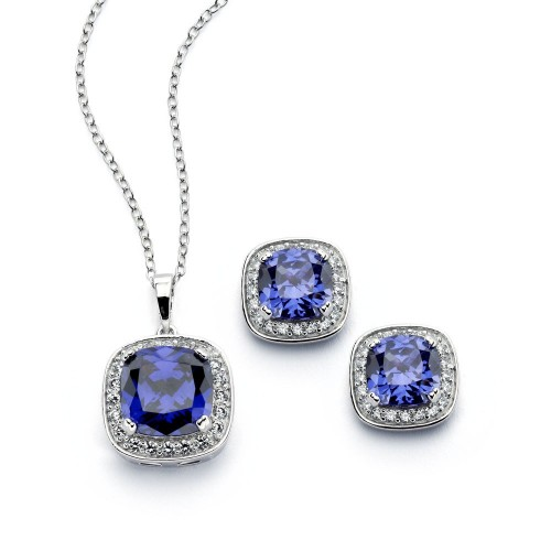 Wholesale Sterling Silver 925 Rhodium Plated Clear Cluster Blue Square CZ Stud Earring and Necklace Set - BGS00390
