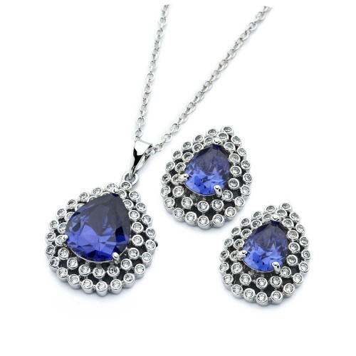 Wholesale Sterling Silver 925 Rhodium Plated Clear Cluster Blue Teardrop CZ Stud Earring and Necklace Set - BGS00391